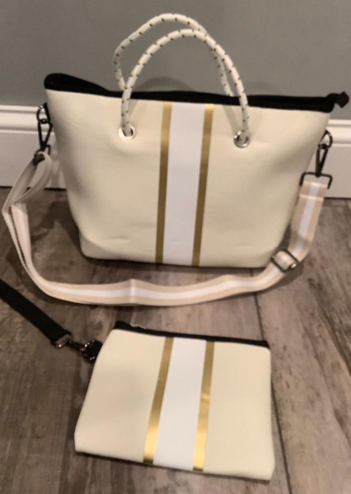 Peace Love Ivory Gold Stripe Mini Cross Shoulder Bag