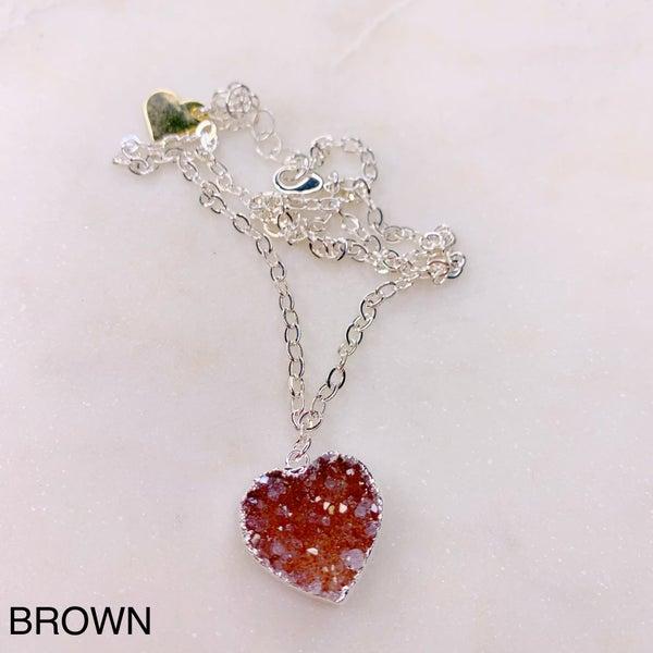 Love Poppy Druzy Heart Necklace - Silver