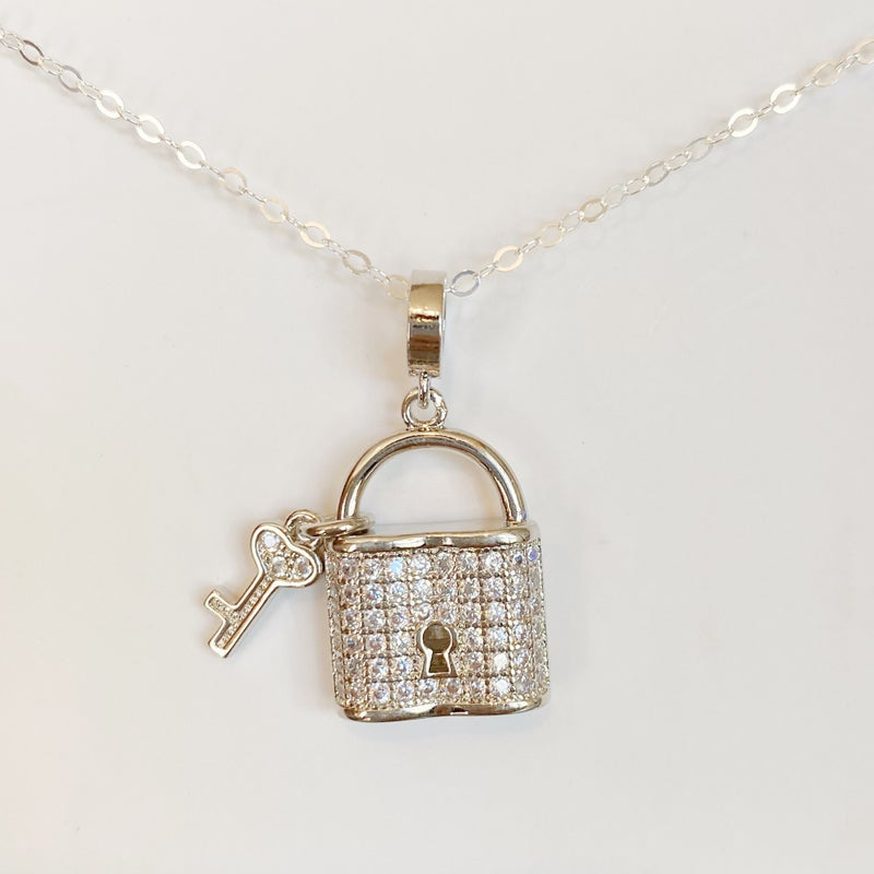 Lock And Key Necklace - Silver