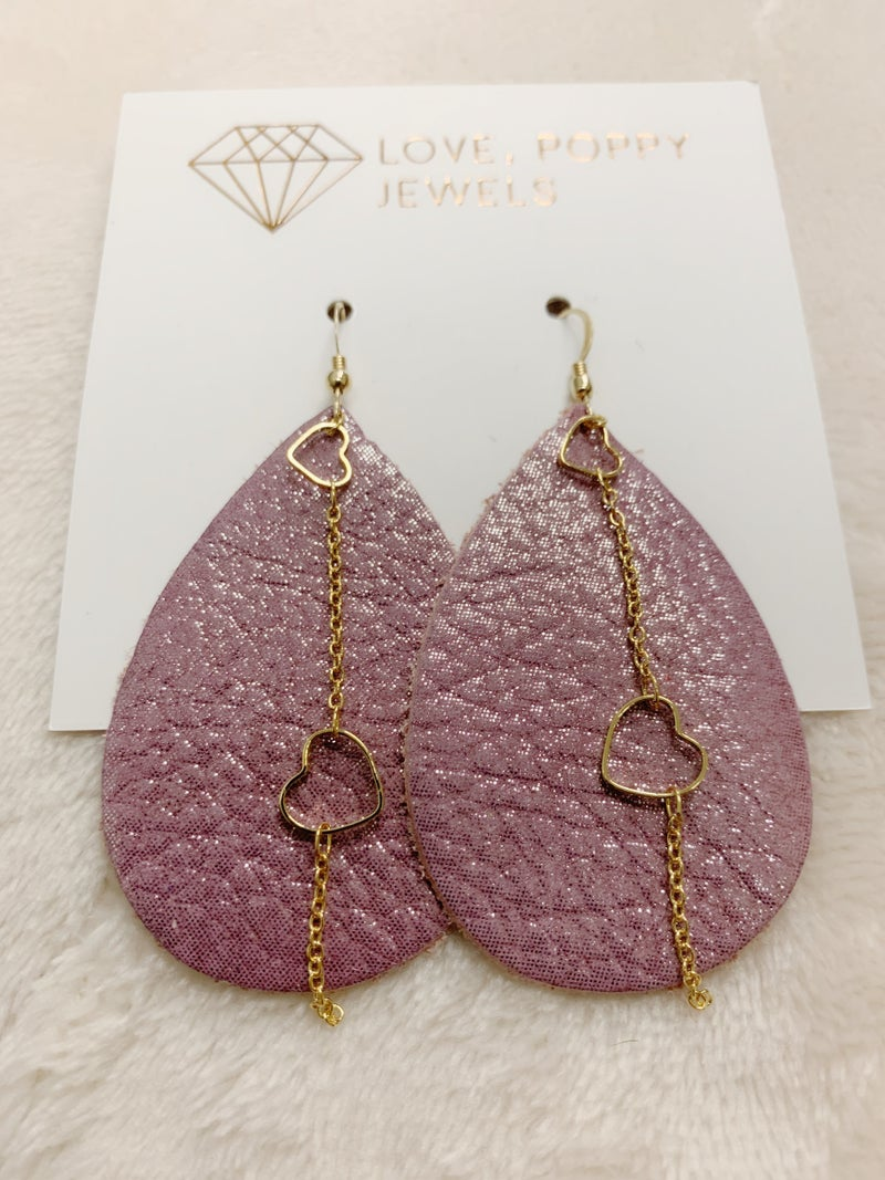 Pink Shimmer & Hearts Leather And Chains Earrings