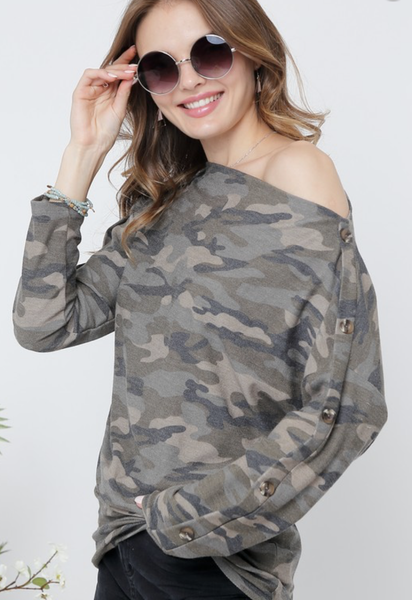 Hideaway Button Sleeve Top
