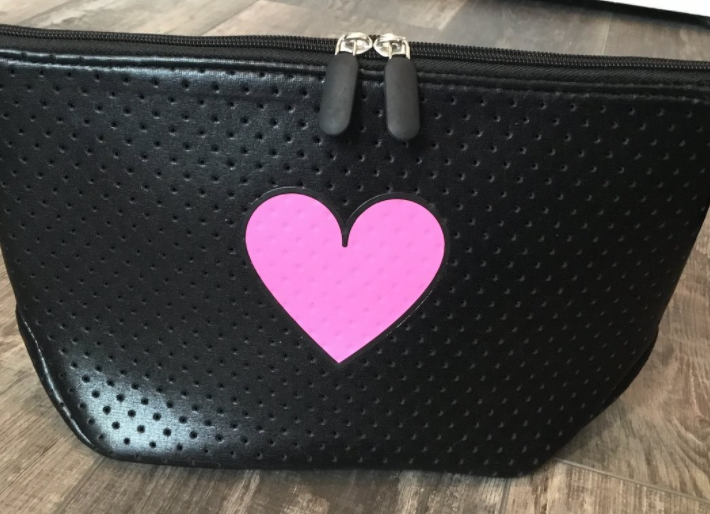 Peace Love Pink Heart Cosmetic Bag Clutch