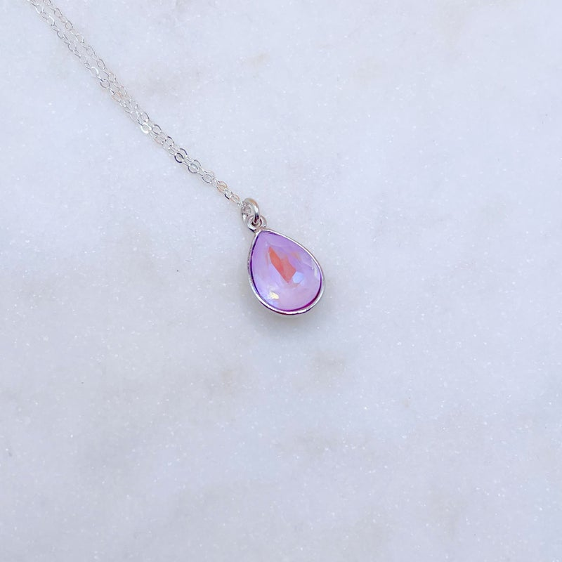 Love Poppy Swarovski Teardrop Necklace - Silver