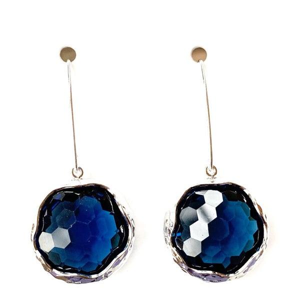 Sapphire/Silver Shine Bright Drop Gem Earrings