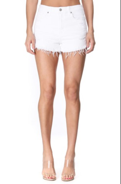 Lulu High Rise Cut Off Frayed Shorts