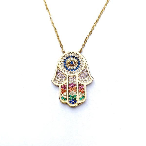 Hespera Rainbow Sapphire Hamsa - Gold