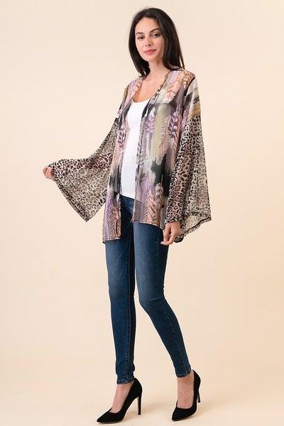 Feather Leopard Print Kimono