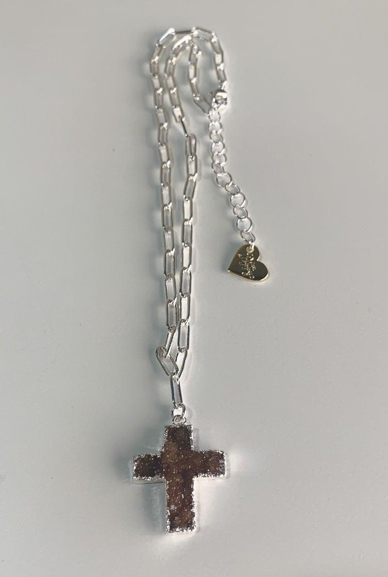 Love Poppy Druzy Cross Paperclip Necklace - Silver