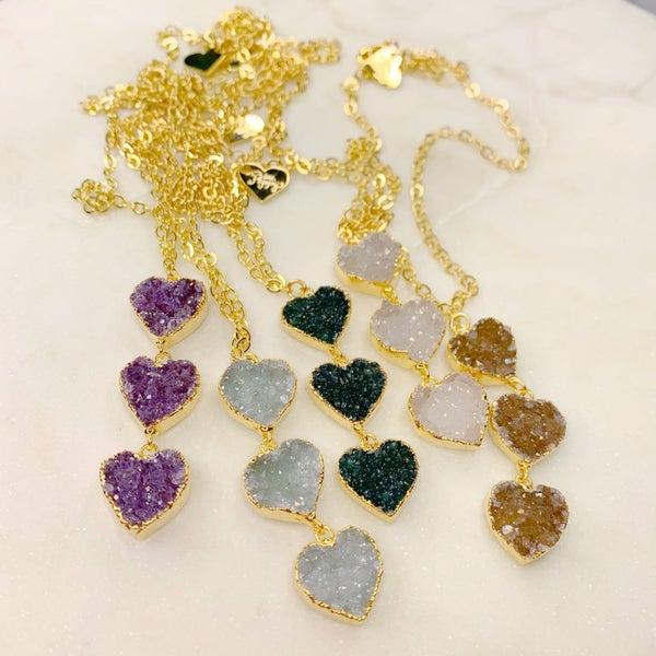 Love Poppy 3 Tier Druzy Heart Necklace - Gold ( 5 Colors)