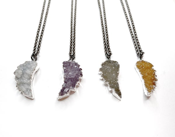 Gunmetal/Silver Angel Wing Druzy Necklace! - 4 Colors!
