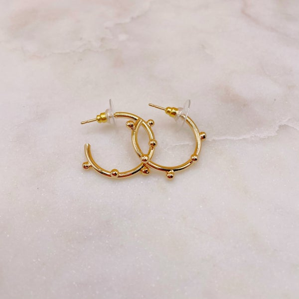 Treasure Jewels Mini Dot Hoop Earrings