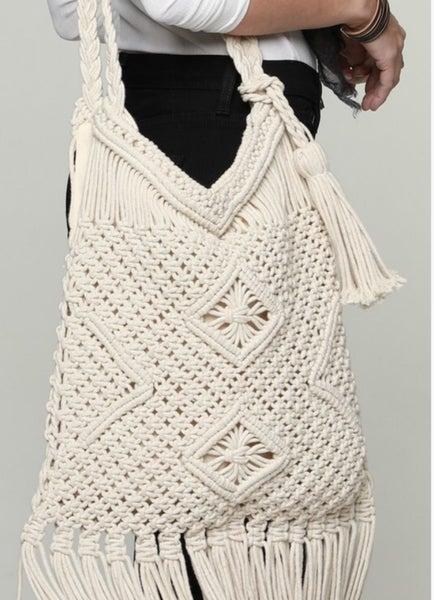 Casual Diamond Crochet Shoulder Bag