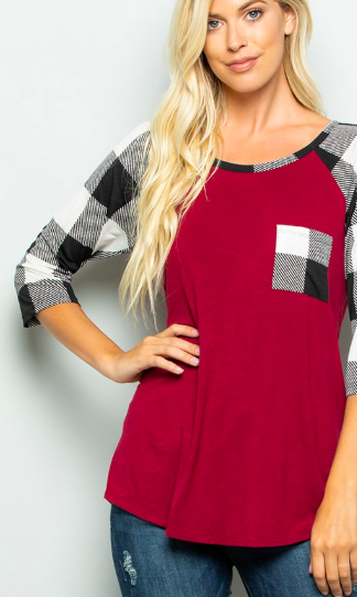Caught You Off Guard Checkered Sleeve Shirt