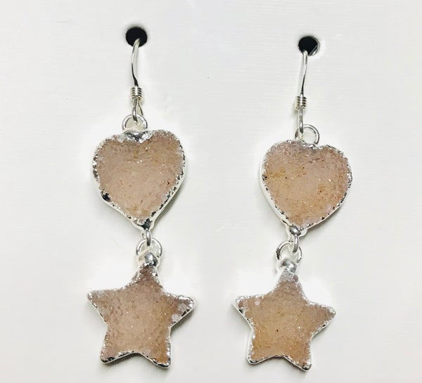 Silver Druzy Star & Heart Earrings - 4 Colors!
