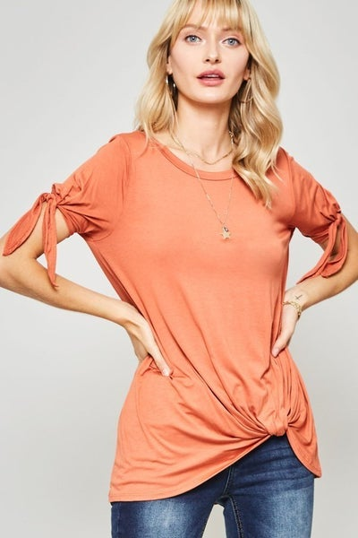 Knot-Cuff Tee with Knotted Hem- 2 colors!