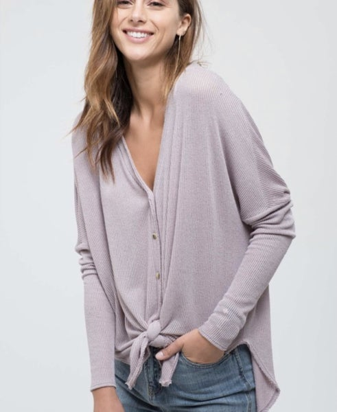 Button Down Light Knit Tie Front Top