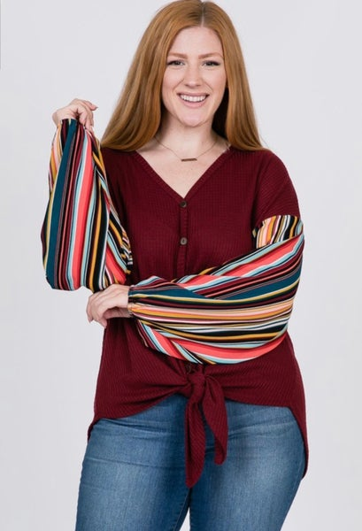 Solid and Stripe Balloon Sleeve Top