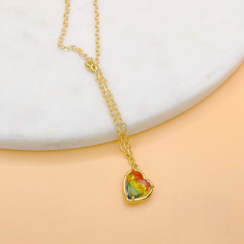 Love Poppy Rainbow Heart Necklace - Gold