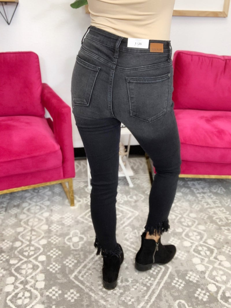 Judy Blue Stuck Like Glue Midrise Hem Fray Skinny Jeans