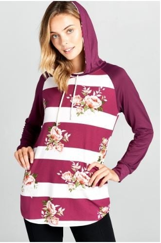 Floral Striped Casual Hoodie