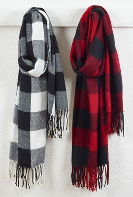 Buffalo Plaid Fringe Scarves - 2 Colors