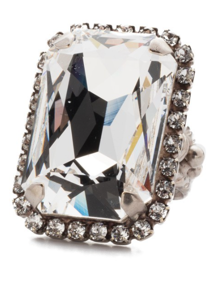Sorrelli Luxurious Emerald-Cut Crystal Cocktail Ring
