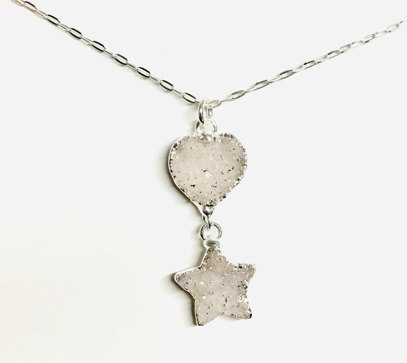 Silver Druzy Heart & Star Necklace - 3 Colors!