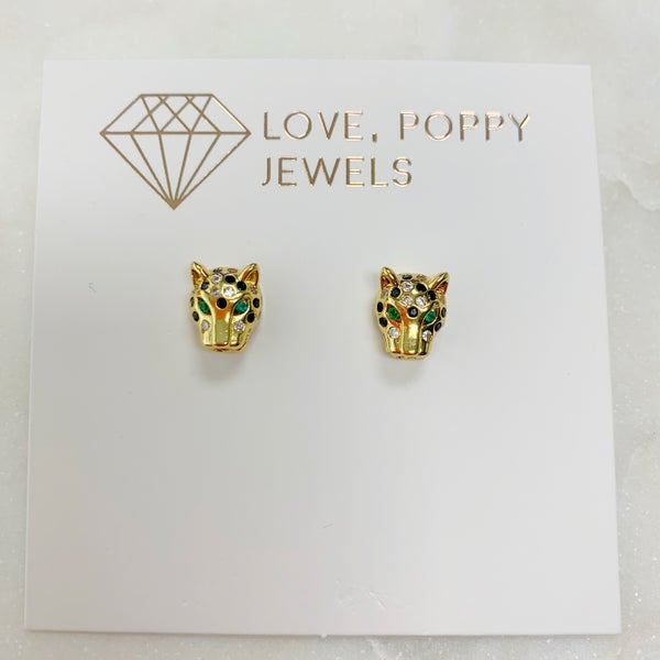 Love Poppy Cougar Stud Earrings