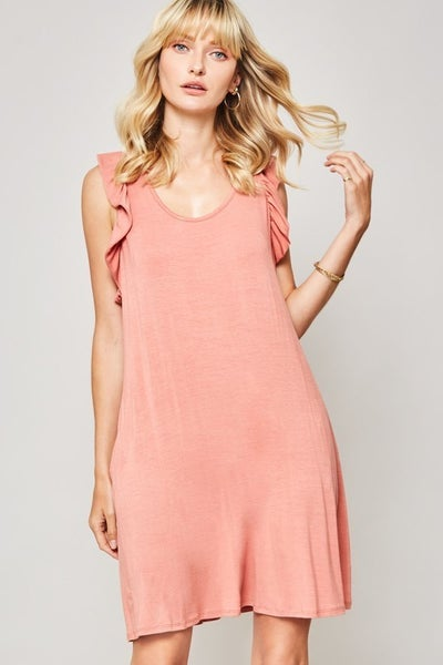 Ruffled Racerback Tank Dress With Pockets
