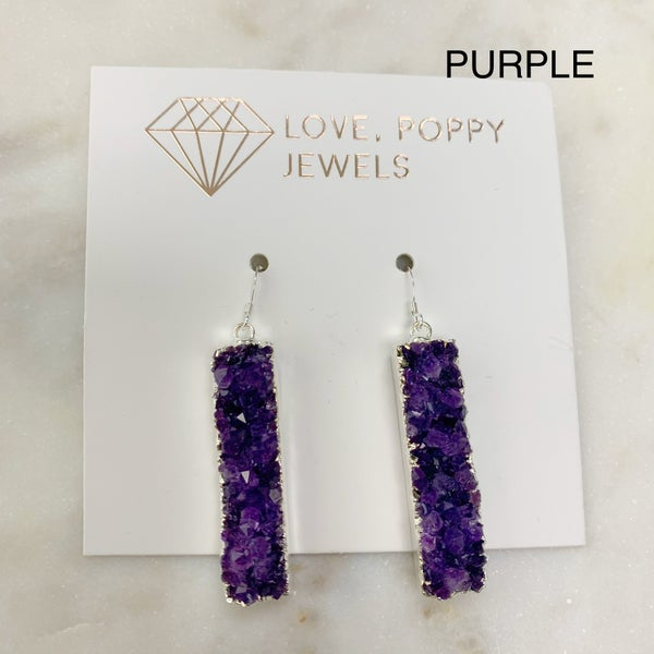Love Poppy Druzy Bar Earrings - Silver