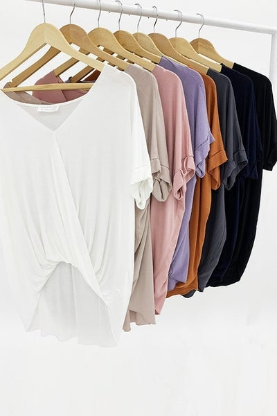 Surplice Front Top w/Roll Up Sleeves