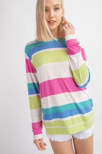 MULTI COLOR STRIPE ROUND NECK LONG SLEEVE TOP