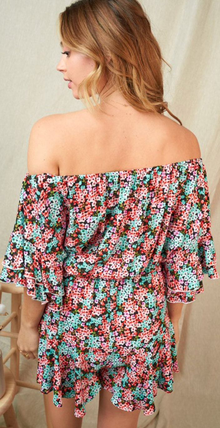 Many Of Hours Counting Flowers Romper