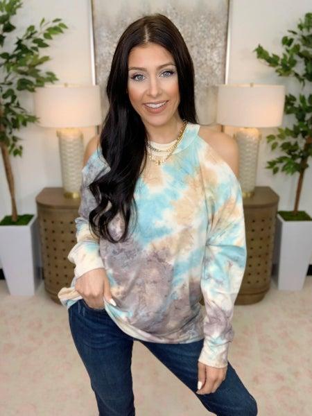 Over The Shoulder Tie-Dye Sweatshirt
