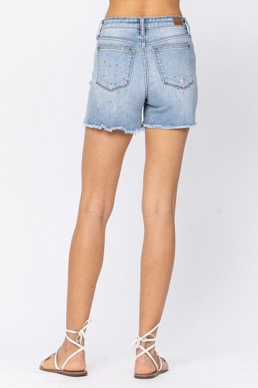 Judy Blue Paint Splash Denim Shorts