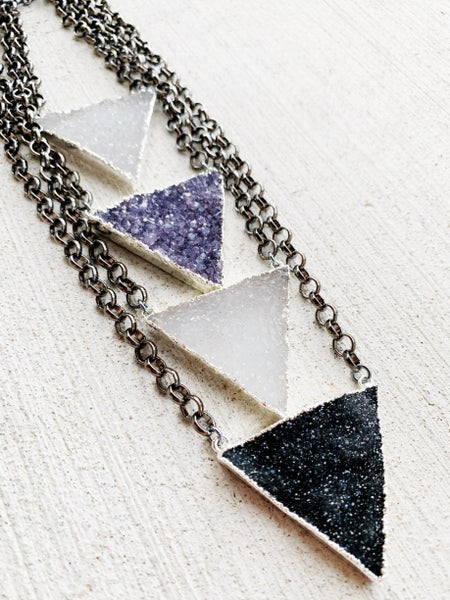 Gunmetal Druzy Triangle Necklace - Silver
