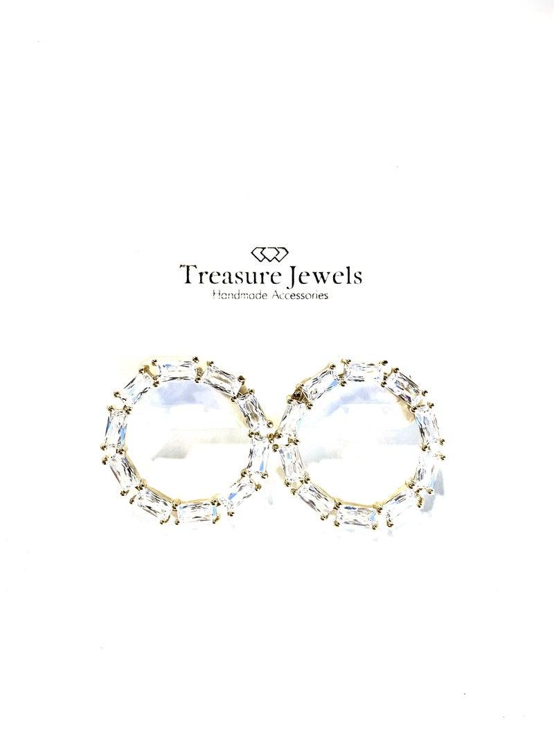 Treasure Jewels Crystal Circle Earrings