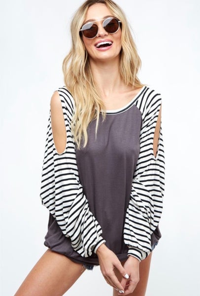 Party Over Here Cold Shoulder Top