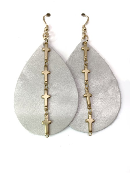 Pearl And Cross Leather & Chains Earrings