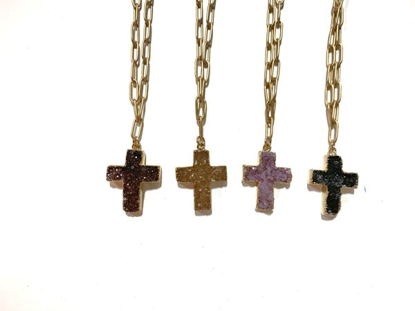 Love Poppy Druzy Cross Paperclip Necklace - Gold