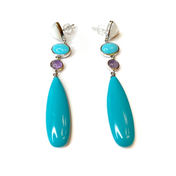 Turquoise/Silver Teardrop Earrings