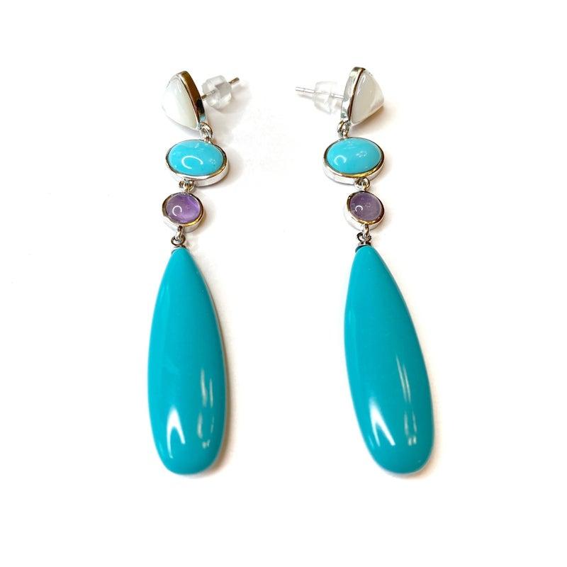 Turquoise/Silver Teardrop Earrings