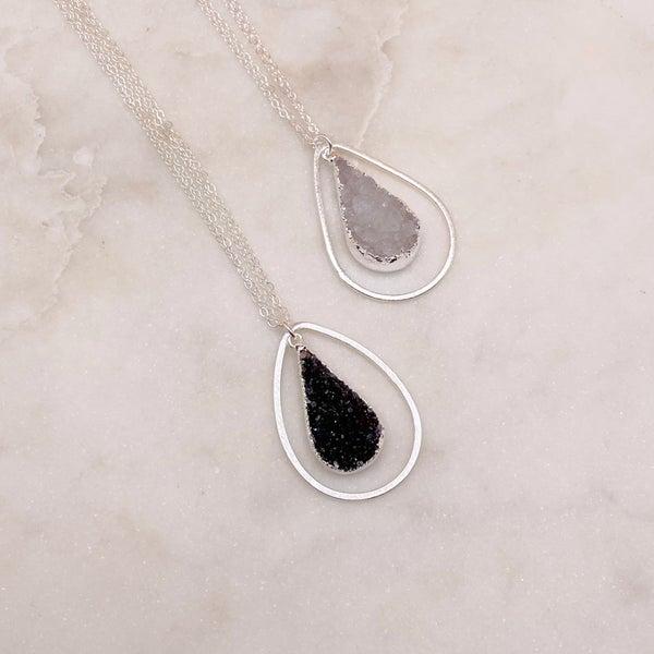 Love Poppy Layered Teardrop Druzy Necklace - Silver (2 Colors)