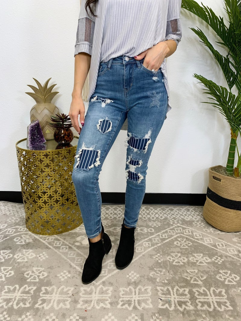 Judy Blue You Rule Pinstripe Patch Skinny Jeans