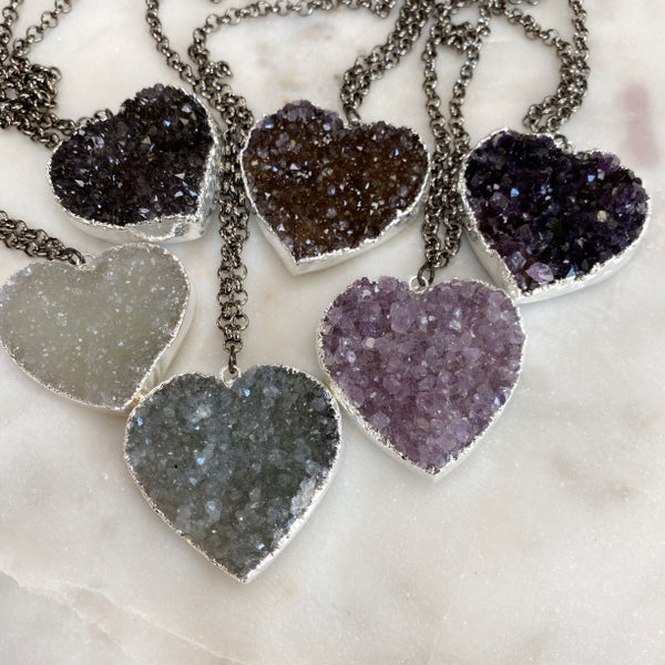 Custom Heart Druzy Necklace - Silver (7 Colors)
