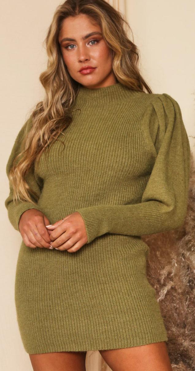 Mutton Sleeve Sweater Mini Dress