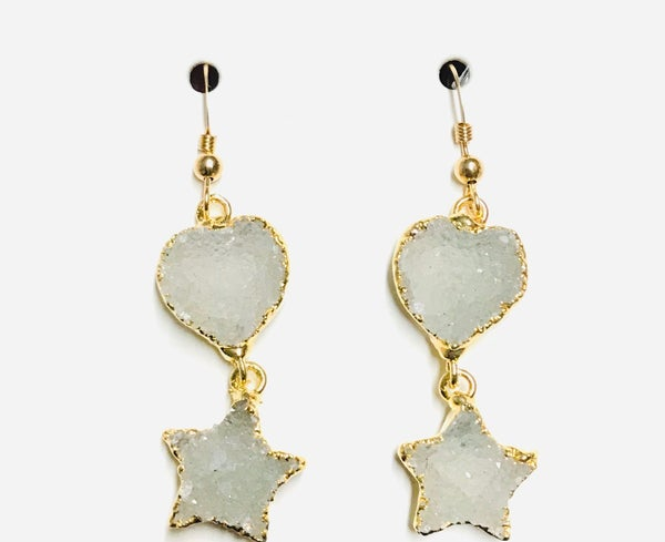 Gold Druzy Heart & Star Earrings - 4 Colors!