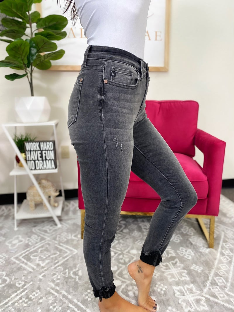 Judy Blue I'm Bossy Destroyed Cuff Skinny Jeans