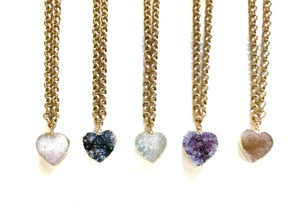 Love Poppy Thick Chain Druzy Heart Necklace - Gold