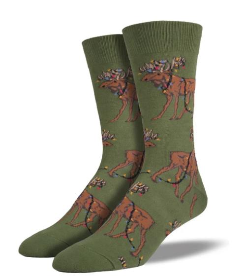 Xmas Lights Moose Socks